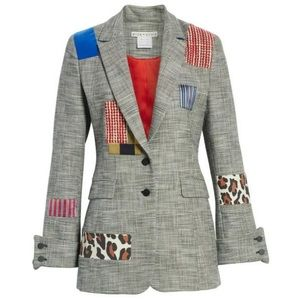 Alice + Olivia Paulene Patchwork Plaid Blazer
